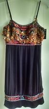 Sue Wong Black Pleated Beaded Feather Dress, NWT Size 6