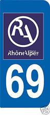 2 STICKERS RA 69 style PLAQUE D'IMMATRICULATION Département Région Rhône Alpes