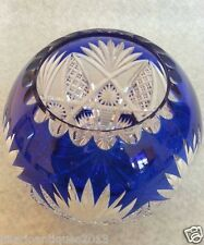 ANTIQUE 1910 VAL ST LAMBERT OR SAIN LOUIS BLUE CUT TO CLEAR CRYSTAL BOWL VASE
