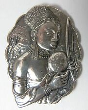 Mother and Child Woman Warrior With Bow Candid South Africa Sterling Silver Pin