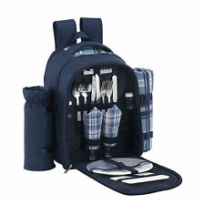 VonShef 2 Person Blue Picnic Hamper Backpack Rucksack Bag w/ Cooler Compartment