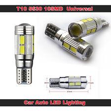 2x Lampadina T10 501 W5W 10 LED Canbus Error Free luce freddo bianco Wedge Side