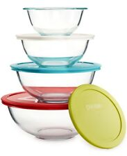 Pyrex 8 Piece Glass Storage Mixing Bowl Set with Colored Lids 1120437 NEW