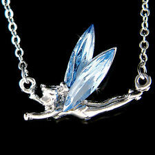 w Swarovski Crystal Blue Tinker Bell Tinkerbell Fairy PIXIE ANGEL Charm Necklace