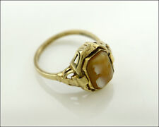Rare Antique Reversible Solid Yellow Gold DIAMOND & ONYX / CAMEO Ring, Size 7