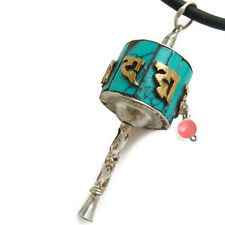 Tibetan Sterling Silver Turquoise Golden Mantra Om Mani Prayer Wheel Pendent