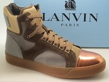 New $885 Lanvin men's  Cap-Toe High Top Sneakers Size 9 UK 10 US