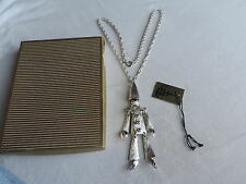 RARE Vintage POLCINI Enamel COURT JESTER NECKLACE Articulated Tag CLOWN