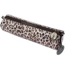 Faux Leather Leopard Print 21cm Long Pencil Case Pen Storage Zipped Zip Pouch