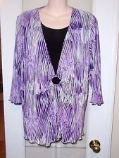 Allison Daley Purple Black Attached Dressy Blouse Shirt Top XL 1x 2x  Plus