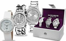NEW Akribos AK819SS Womens 3-Piece Silver Gift Diamond Watches AK514 AK687 AK531