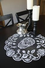 Halloween Gothic, Day of the Dead Sugar Skulls Doily, Pewter Gray Lace, 20 Inch