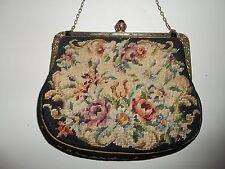 Antique Black Floral Petit Point Purse Handbag w/Chain Jeweled Clasp & Trim