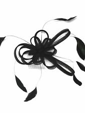 Black Loop and Feather Comb Fascinator Wedding Races Bridal - Hair Accessories