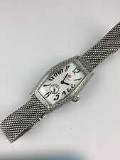 AUTHENTIC Michele Large Coquette Diamond Stainless Steel Ladies Watch