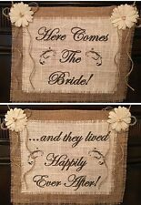 Burlap Here Comes Bride Happily Ever After Flower Girl Sign Wedding Reversible