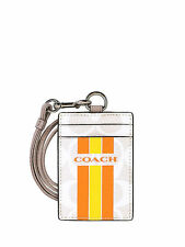 NWT Coach Varsity Lanyard ID Case in Chalk/Orange 1 F 66462