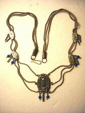 Antique  Silver, Niello, Multi Chain Necklace with Blue Turquoise from Kubachi