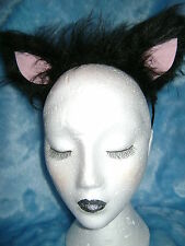 Black Cat Ears With Pink Inners Fancy Dress Luxury Faux Fur Costume Ears