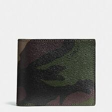 New Coach F75101 Compact ID Wallet in Green Camo Print Coated Canvas MSRP $175