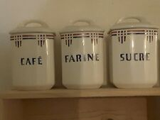 Lovely set of 3 French vintage ceramic kitchen canisters