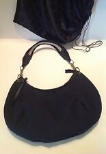 GUCCI Medium Black Canvas & Leather Trim Hobo Handbag w Dust Bag-NWOT-Vintage!