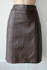 Brown Leather Stretch High Waist Pencil Office Knee Length Skirt Size W 27 L 21