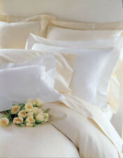 "FRETTE Ivory Rigato Ara Queen Flat Sheet 94"" x 114"", Top Quality 310TC Cotton"