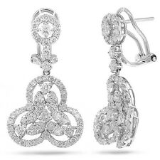 2.73 CT 18K White Gold Diamond Drop Dangle Pyramid Shape Circle Earrings