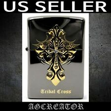 New Japan Korea zippo lighter tribal cross emblem black ice US SELLER