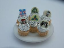 Dolls house food: Plate of  Christmas cupcakes -By Fran