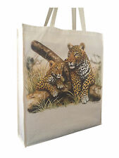 Stunning Leopard Natural Cotton Shopping Bag Tote Long Handles Perfect Gift