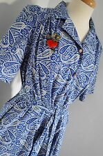 vintage COTTON paisley BLUE 1940'S inspired tea dress 12 14 16 ww2 LIBERTY print