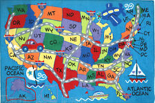 """3x5  Educational  Rug USA Travel Map States Kids Play Road Kid Size 39""""x58"""" New"""