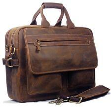 Vintage Crazy Horse Leather Men Briefcase 15'' Laptop Bag Shoulder Messenger Bag