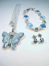 Ladies Matching BUTTERFLY BLUE GEMSTONE NECKLACE, BRACELET & EARRINGS