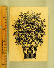 Rubber Stamp Stampa Rosa Poinsettia Basket Christmas Flowers #647