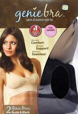 2 Pack New Genie Bra Nude and Black Seamless Removable Pads Size Large