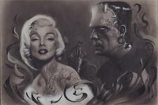 MARILYN MONROE & FRANKENSTEIN - TATTOO POSTER - 24x36 - 4273