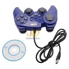 USB 2.4G Wired Computer Game Pad Controller Joystick Plug and Play for PC Blue