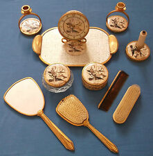 VINTAGE VANITY 11 PIECE DRESSING TABLE SET CLOCK & TRAY JAPANESE ORIENTAL SCENE
