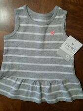 NWT - Infant Girl's Carter's Gray And White Sleeveless Peplum Top-Size 9 Months
