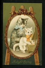 Cat Kitten Oval Portrait Easel Christmas Embossed Vintage  Postcard