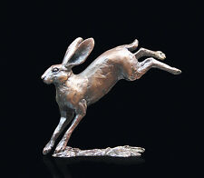 Small Hare Leaping Solid Bronze Sculpture Michael Simpson Ltd Edition