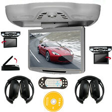 "Gray HD 12.1"" LCD Roof Flip Down Car DVD Player Radio TV USB/SD Game+ Headphones"