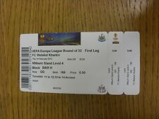 14/02/2013 Ticket: Newcastle United v Mentalist Kharkiv [Europa League] (Creased