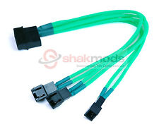Shakmods Molex to 3 x 3 pin Fan 20cm Y Splitter Power Cable 12v Green Sleeved