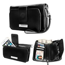Black PU Leather Wristlet Clutch Wallet Card Case Cover For iPhone 6s Plus 5.5