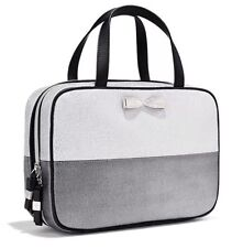 New~Victoria's Secret Hanging Travel Case Makeup Bag Silver Metallic Colorblock