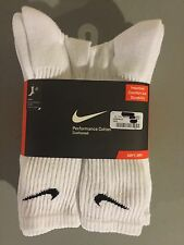 6-PAIRS NIKE Men's Performance Cotton Crew Socks / WHITE / LARGE (Shoe 8-12)